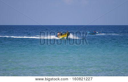 TERENGGANU MALAYSIA - JUNE 17 2008 : Tourist using boat at Perhentian Kecil Island Terengganu Malaysia.