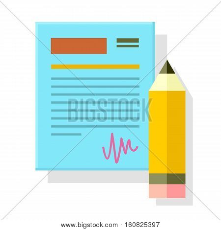 Signed office document with pencil isolated. Paper sheet with pencil pen. Office document page, note paper, stationery accessory, paperwork. Business strategy, search for solutions concept. Vector