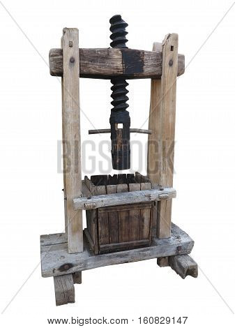 Ancient wooden wine old press isolated on white background