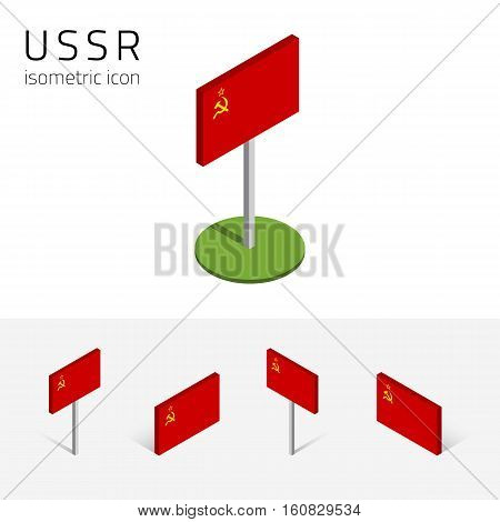 USSR flag (Union of Soviet Socialist Republics) vector set of isometric flat icons 3D style different views. Editable design elements for banner presentation infographic poster map. Eps 10