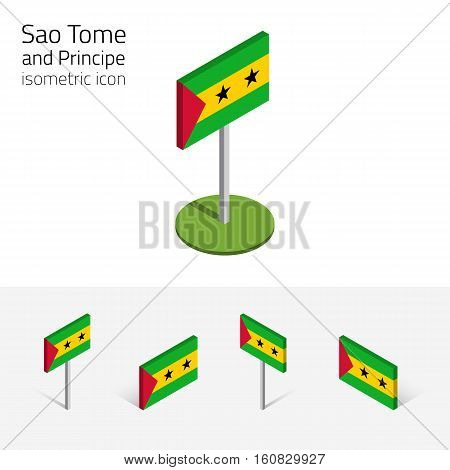 Sao Tome and Principe flag vector set of isometric flat icons 3D style. African country flags. Editable design elements for banner website presentation infographic poster map card. Eps 10