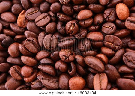 Coffee beans background, macro