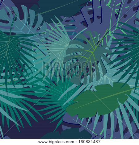 Abstract digital seamless pattern flat background with colorful green blue palm leaves greenery on dark violet backdrop