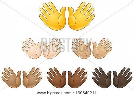 Open hands sign of various skin tones