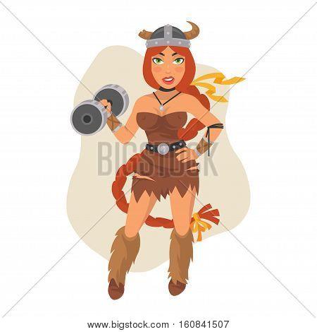 Vector Illustration, Viking Girl Holds Dumbbell, Format EPS 8