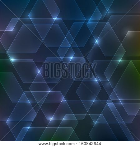 Abstract hexagon dark background with lights shades
