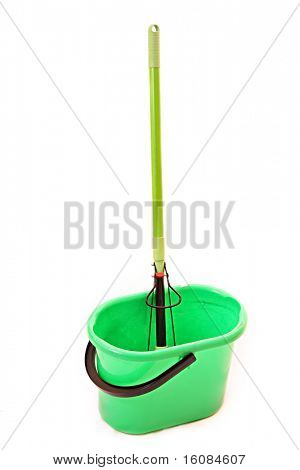 swab and bucket isolated on white