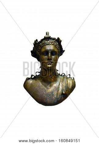 ancient greek bronze deity bust statuette isolated over white