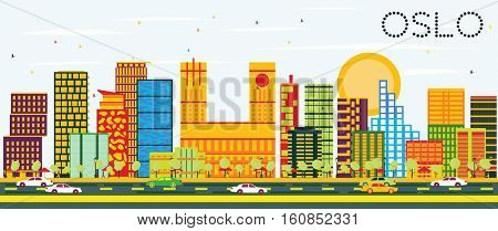 Oslo Skyline with Color Buildings and Blue Sky. Business Travel and Tourism Concept with Modern Architecture. Image for Presentation Banner Placard and Web Site.
