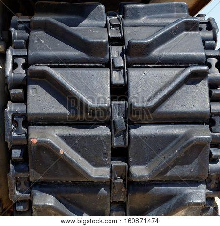 Closeup of old Sherman tank tracks or tread