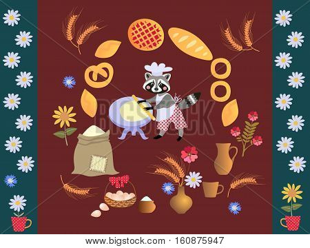 Cute cartoon raccoon baker with dough and rolling pin. Card poster. Frame made of wheat, sunflowers, bouquet of cornflowers, muffins, pies, cakes, daisies.
