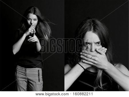 Speak no evil. The girl closes her mouth. Long hair