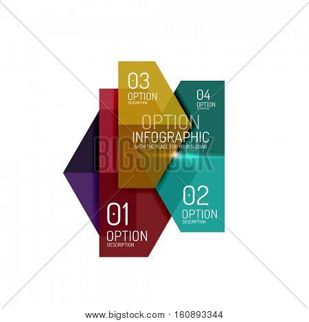 Paper business option button infographic templates, vector illustration