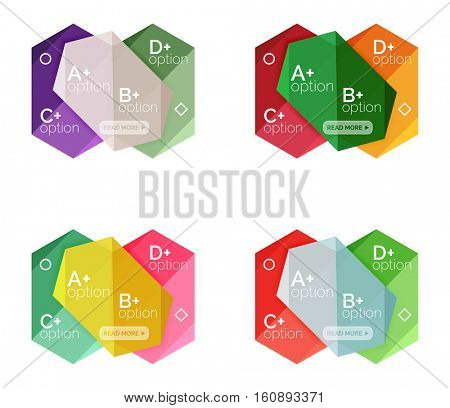 Set of vector abstract infographics content boxes. Modern business colorful templates