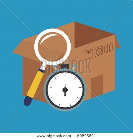 Box lupe and chronometer icon. Delivery shipping and logistics theme. Vector illustration