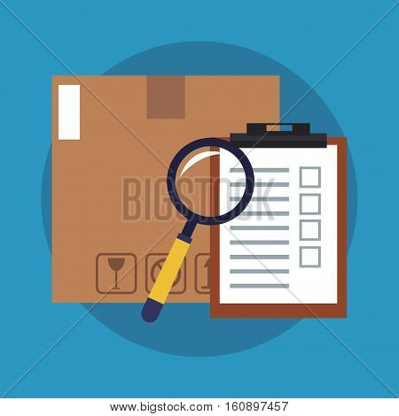 Box lupe and checklist  icon. Delivery shipping and logistics theme. Vector illustration