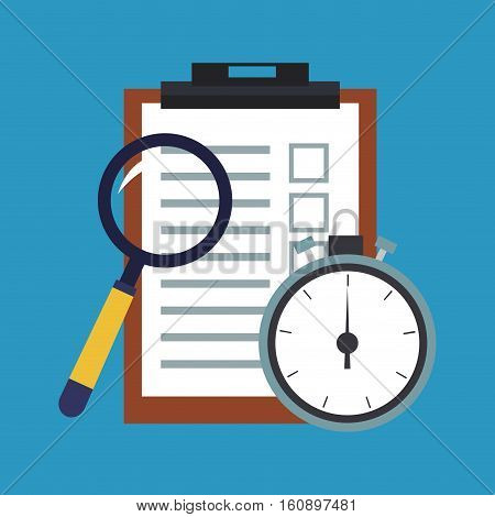 Checklist chronometer and lupe icon. Delivery shipping and logistics theme. Vector illustration