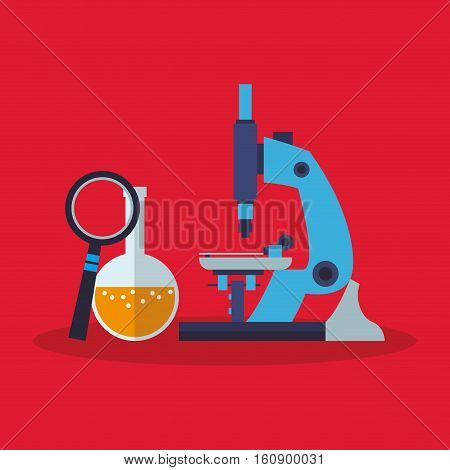 Microscope lupe and flask icon. laboratory science chemistry and research theme. Colorful design. Vector illustration