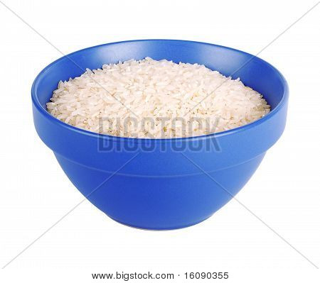 Uncooked Basmati Rice In A Ceramic Blue Bowl On White Isolated Background