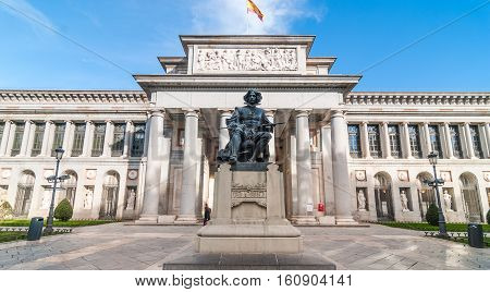 Clear sky and warm day for a visit to The Prado Museum.  Front entrance and terrace to the Museo del Prado, Spanish national art museum, located in central Madrid.