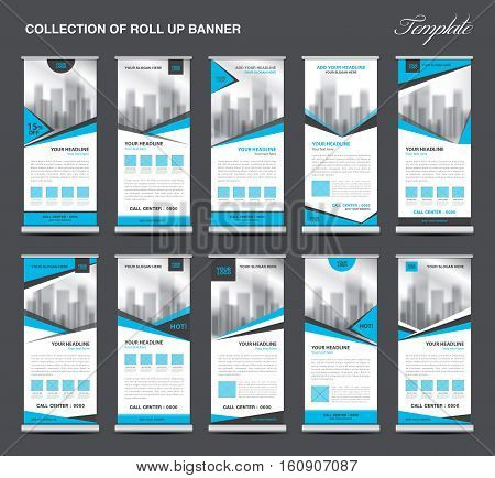 Collection Blue Roll Up Banner Design stand template, flyers design, advertisement, display layout, x-banner and flag-banner, pull up