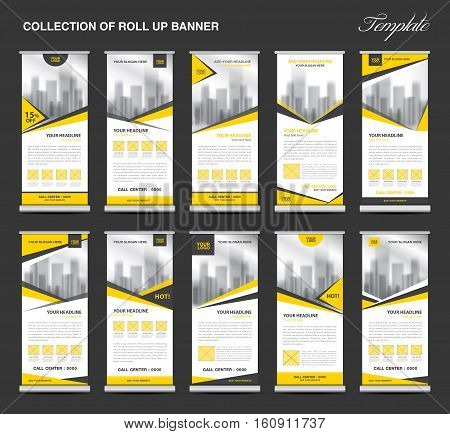 Collection Yellow Roll Up Banner Design stand template, flyers design, advertisement, display layout, x-banner and flag-banner, pull up