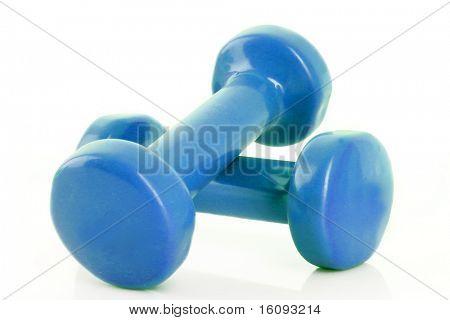 Couple of blue dumbbells isolated on white