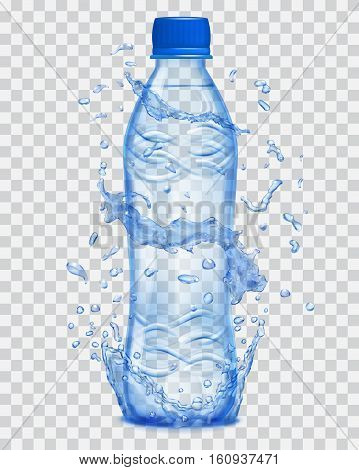 Transparent Water Splashes In Blue Colors Around A Transparent Plastic Bottle