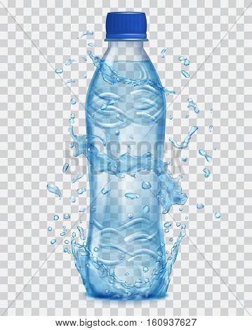 Transparent Water Splashes In Light Blue Colors Around A Transparent Plastic Bottle