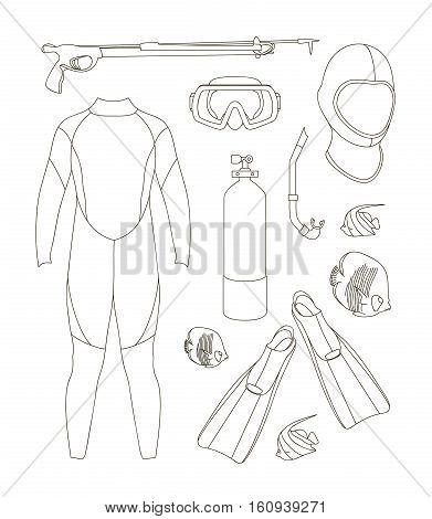 Vector icons set of diving equipment. Aqualung, oxygen cylinders, depth gauge, flashlight, snorkel and mask, flippers, gloves and speargun