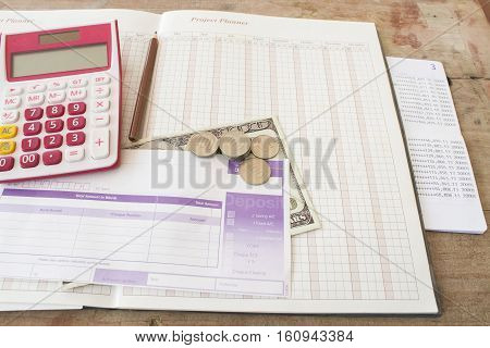 project planner yearly passbook bank with bill deposit for financial expense and income