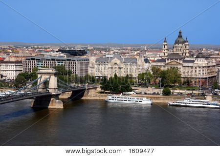 Danube, Chain Bridge And Budapest View