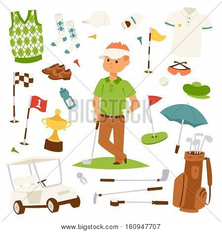 Golf player clothes and accessories vector illustration. Golfing club male outdoor game. Different swing sport hobby equipment vector set. Professional play competition lifestyle.