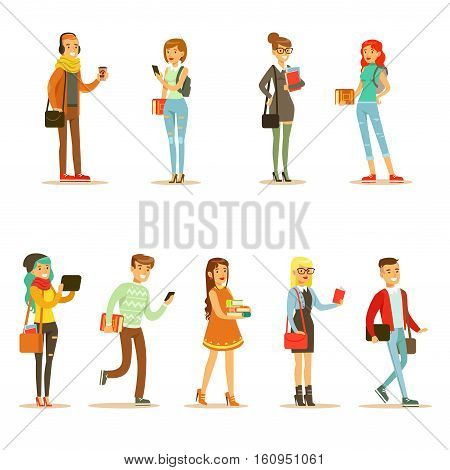 University And College Students Street Fashion Looks Set With Young Men And Women With Bags And Books. Modern Young Adults Going To Their Studies Looking Cool In Hipster Clothing Style.