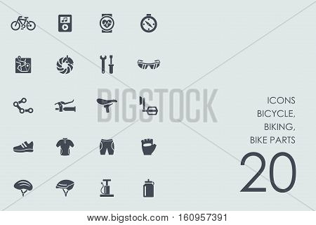 bicycle, biking, bike parts vector set of modern simple icons
