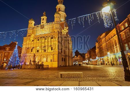 Renaissance town hall and christmas decorations in city of Poznan