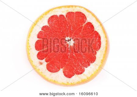 Close up of sliced pink grapefruit isolated on white