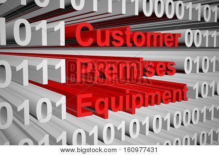 Customer premises equipment in the form of binary code, 3D illustration