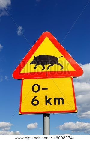 Beware of wild boar for the next 6 km.