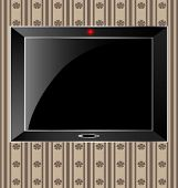 foto of televisor  - against the background of an abstract pattern big black TV on the wall - JPG