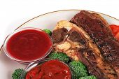 served beef steak and chili spicy sauces poster
