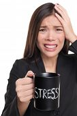 Stressed businesswoman drinking morning stress coffee cup. Stress concept. Business woman stressed i poster