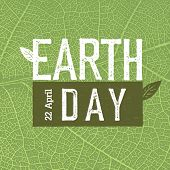 Grunge Earth Day Logo on green leaf veins texture.  Earth day, 22 April. Earth day celebration des poster