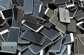 Heap of different smartphones. Mobile phone technology concept background. 3d illustration poster