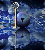 stock photo of world-globe  - A key - JPG