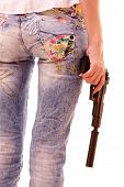 stock photo of beautiful women  - Woman ass and pistol in hands isolated on white - JPG