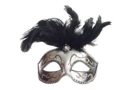 pic of masquerade mask  - A silver feathered Venetian mask isolated on a white background with ribbons for fastening - JPG