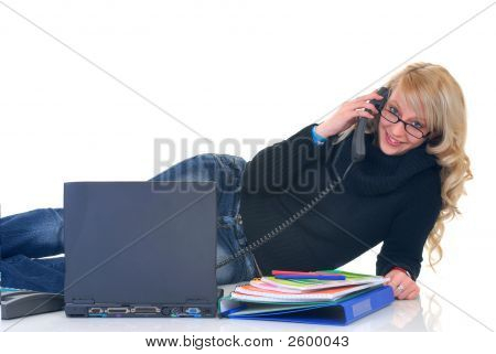 Teenager Student On Phone