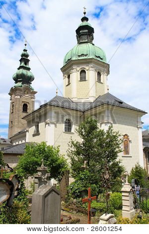 Tourist attractions on the old Salzburg Cemetery, Austria