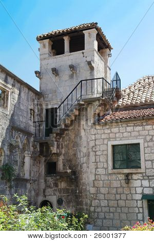 The tower which is part of Marco Polo's home on the island of Korcula in Croatia
